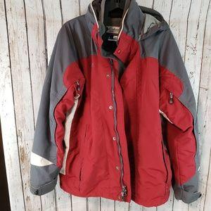 Columbia red gray 2 in 1 hoodie jacket